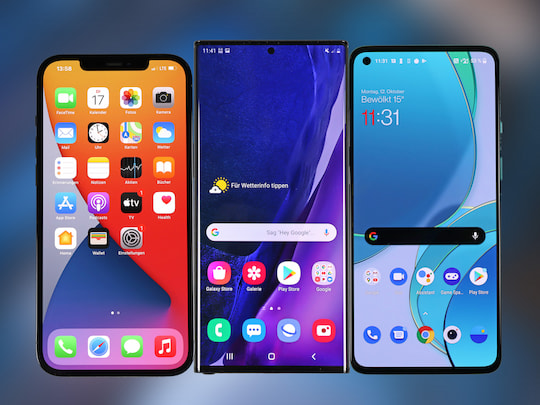 iPhone 12 Pro Max (l.), Galaxy Note 20 Ultra 5G und OnePlus 8T (r.)