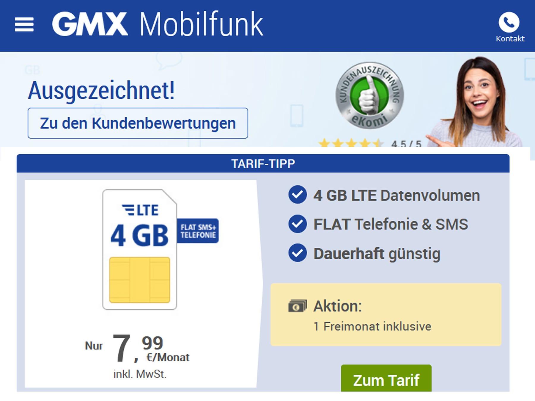 GMX & web.de: Gratis-Monat bei Allnet-Flatrates - teltarif